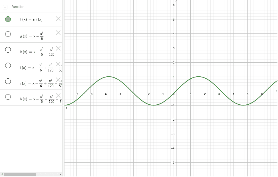 Taylor series approximation of sine curve Press Enter to start activity