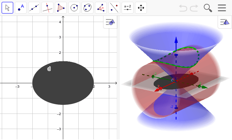 Intersection of a cone and cylinder. Press Enter to start activity