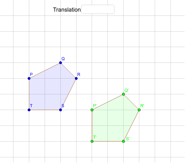 Write the coordinates of the translation vector that maps the blue pentagon to the green pentagon. (Use parentheses) Press Enter to start activity