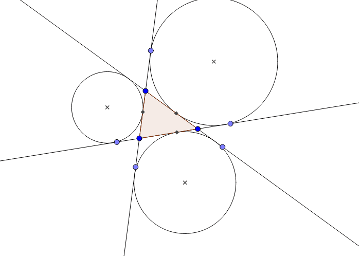 An excircle of a triangle is externally tangent to a side of the triangle and tangent to the extensions of the other two sides.  Each triangle has three excircles. Press Enter to start activity