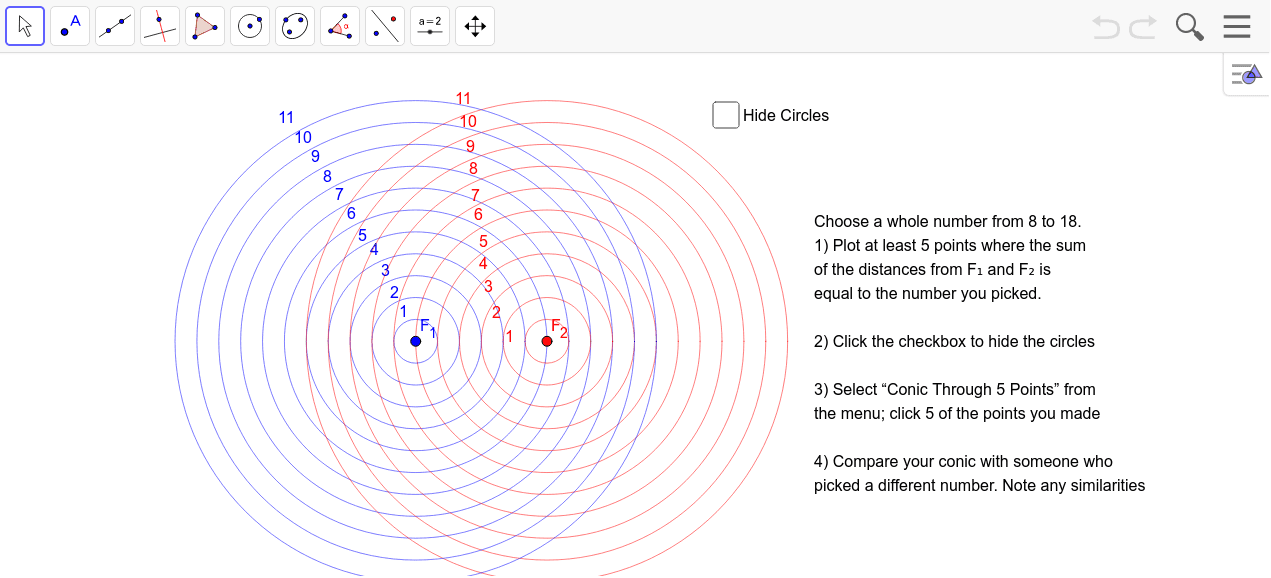 Plotting points a constant arbitrary distance from 2 focal points to generate an ellipse. Press Enter to start activity