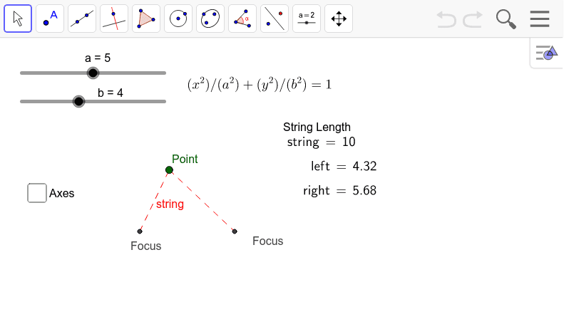 """If you envision a string being stretched around two points, the shape outlined by the string would be an ellipse. Note as 'a' and 'b' change, the length and width of the ellipse also change. Enable """"Trace"""" on the point to actually see the ellipse. Press Enter to start activity"""