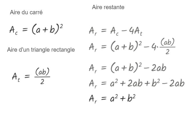Calcul de l'aire restante; démonstration algébrique