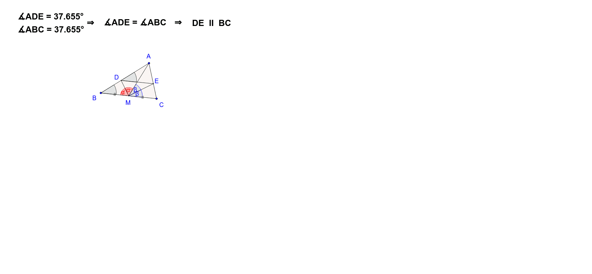 The applet illustrates the invariance property in any triangle ABC: If AM is a median to BC, and MD and ME are bisectors 0f AMB  and  AMC, then DE is parallel to BC. Press Enter to start activity