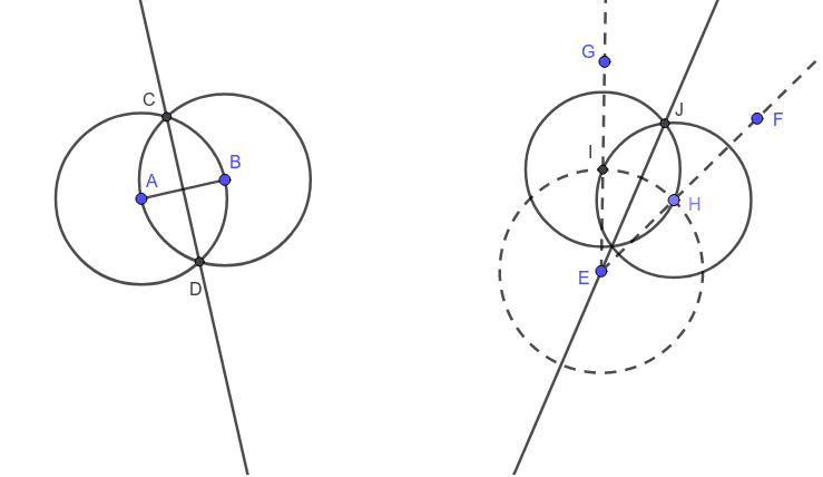 """On the left is a picture of the opener we did together, which is the construction """"perpendicular bisector"""".  On the right is a picture of the construction """"angle bisector"""". Press Enter to start activity"""