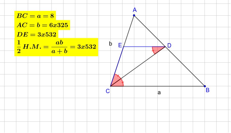 The applet helps to understand that for each triangle ACB with angle bisector CD and DE  CB, DE is half the harmonic mean of AC and BC. Press Enter to start activity