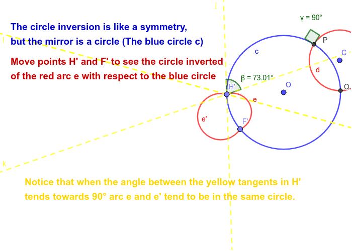 Circle inversion of arcs Press Enter to start activity
