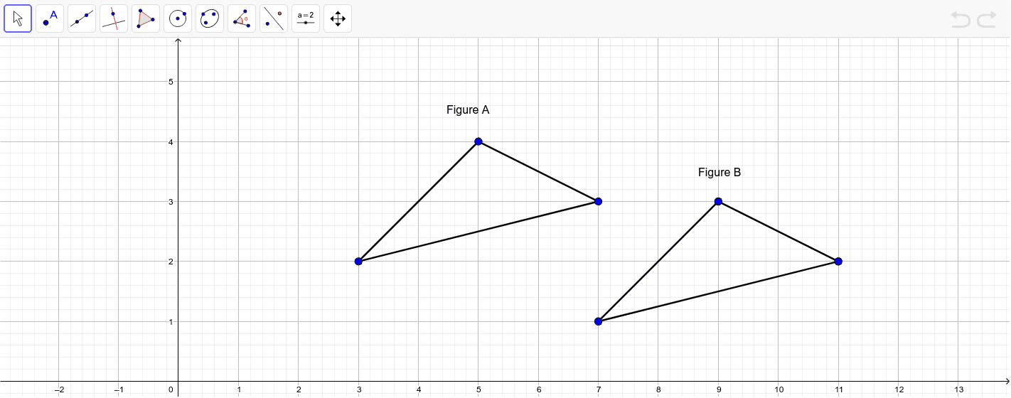 Show that the two triangles are congruent by identifying a rigid motion transformation that maps Figure A to Figure B. Use the tools in Geogebra to show that your transformation works.  Press Enter to start activity