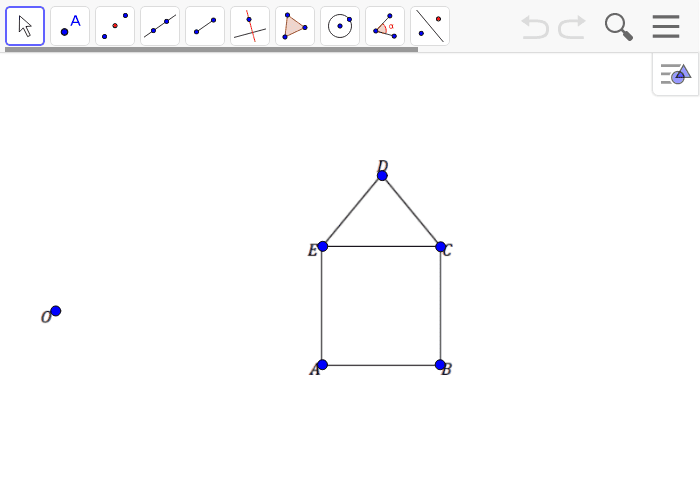 Example 1:  Create a scale drawing of the figure below using the ratio method about center O and scale factor r = 1/2 Press Enter to start activity