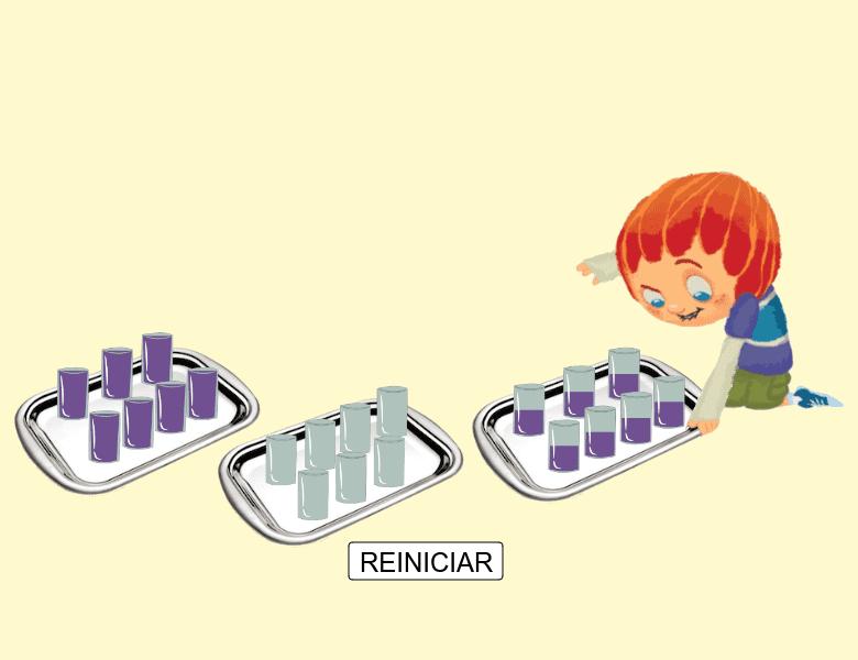 Você pode ajudar o Mobi a redistribuir os copos de modo que ele tenha 7 copos em cada bandeja e todas as bandejas com mesma quantidade de suco? Basta arrastar os copos para começar. Press Enter to start activity