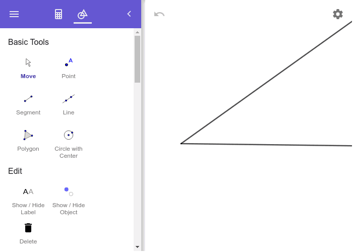 Given the angle below, construct an angle bisector. Afterwards, check whether you bisected the angle. Press Enter to start activity