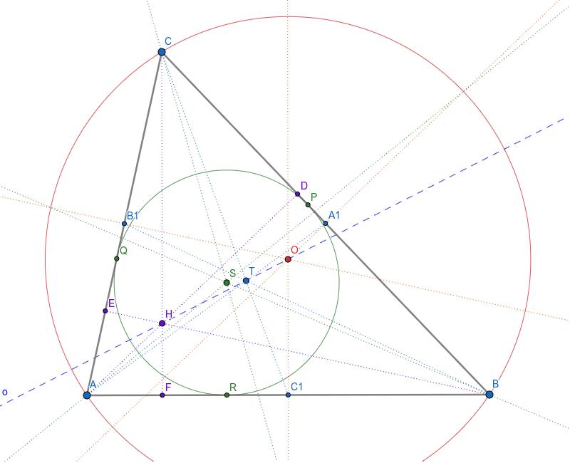 Померајте тачке A, B и C да видите све положаје значајних тачака троугла Press Enter to start activity