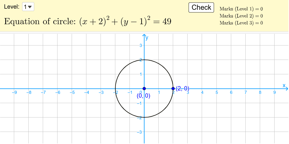 Identify the center and the radius of the given circle then adjust the circle to fit on the equation. Press Enter to start activity