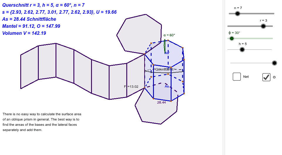 cut thru a regular polygon column (ObliquePolygonPrismNetz2) Press Enter to start activity
