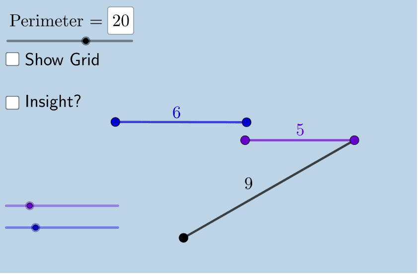 Teachers and students: You can choose a different value for the fixed perimeter using the slider in the top left corner. Once you form a triangle from any three given segments, it will appear!  Press Enter to start activity