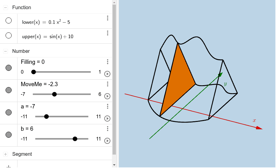 Create a solid whose base is a circle with radius 8 and has equilateral triangle sections parallel to the yAxis. (Cross sections shown here are equilateral triangles.) Press Enter to start activity