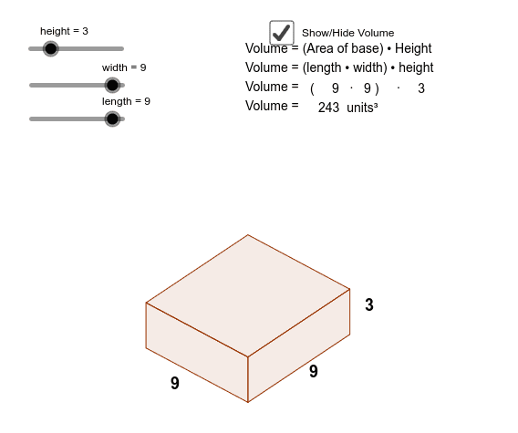 Volume of Cuboid = number of cubes in one layer × number of layers Press Enter to start activity