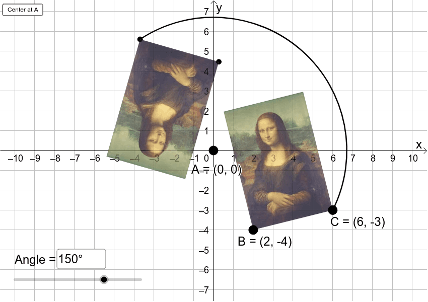In the app below, rotate Lisa 180 degrees about the origin.  Press Enter to start activity
