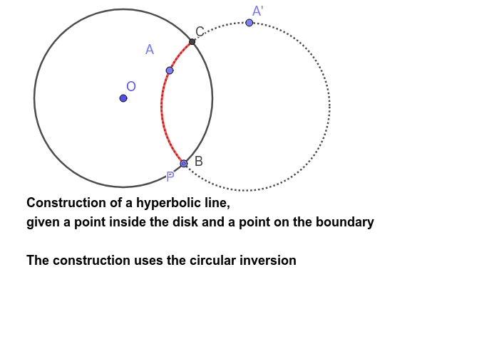 Hyperbolic line through a point inside the disk and a point on the boundary Press Enter to start activity