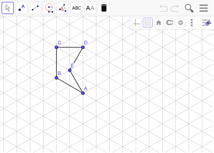 Reflect over the line BA and then rotate 60 degrees counterclockwise around point A.  Show each transformation and use the style bar to make the line segments of the final image red. Press Enter to start activity