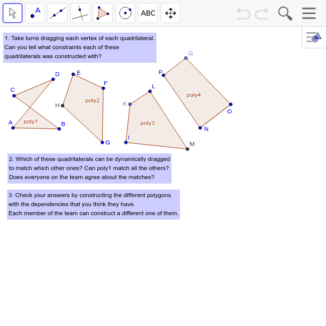 Challenge 35: Construct Quadrilaterals with Constraints Press Enter to start activity