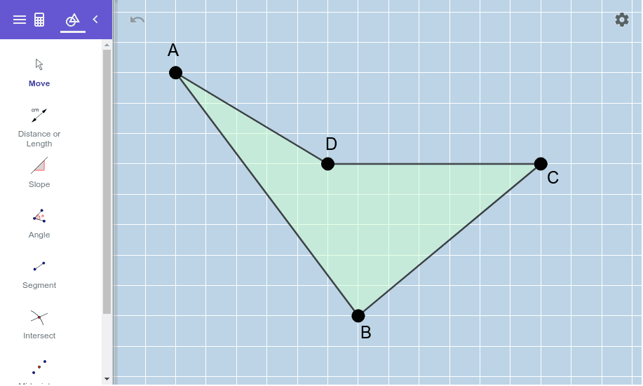 Move the vertices of this quadrilateral around to form a RHOMBUS (that is NOT a square).    Press Enter to start activity