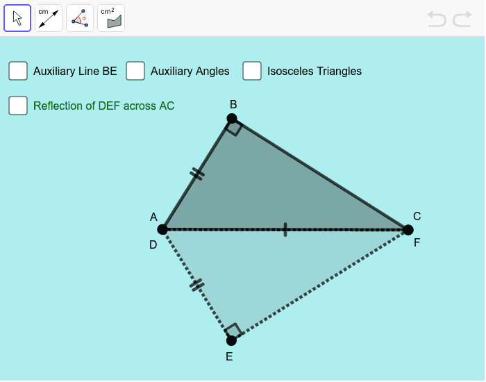 Change the position and size of the triangles by moving points A, B and C.  Use the toolbar to measure segment lengths, angles and area. Press Enter to start activity