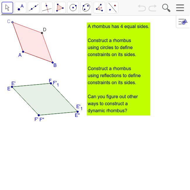 Challenge 36: Construct a Rhombus Press Enter to start activity