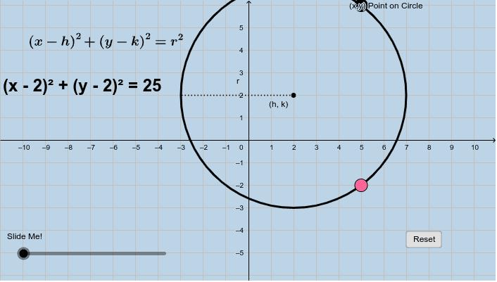 Equation of Circle Center at (h , k) Press Enter to start activity