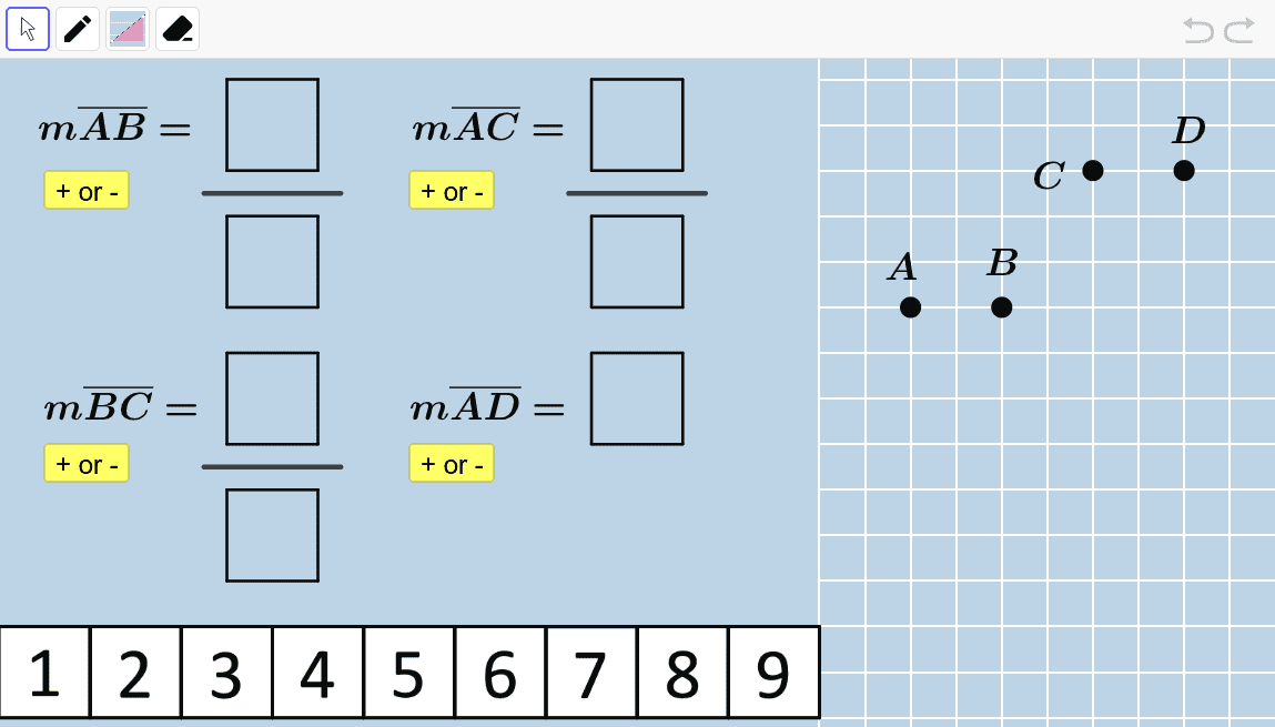 Create a setup that is entirely different from what you created above.  Be sure to position the four points and move number tiles to cause all four statements to become true.  Press Enter to start activity