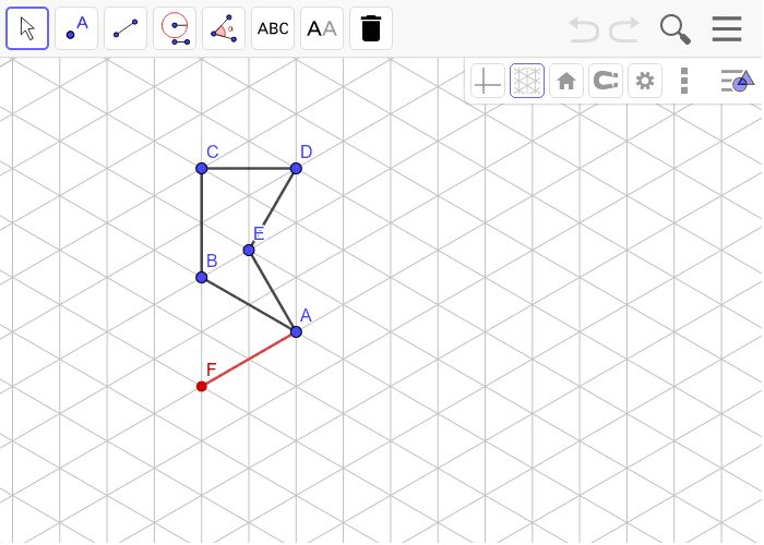 Rotate ABCDE 60 degrees around point A then reflect over the line FA.  Show each transformation and then use the style bar to make the line segments of the final image red. Press Enter to start activity