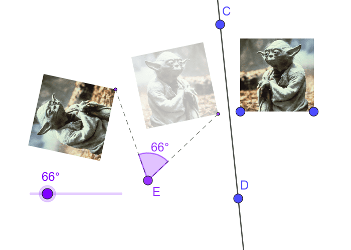 Reflect over line CD, then rotate counterclockwise around point E by the given angle. Press Enter to start activity