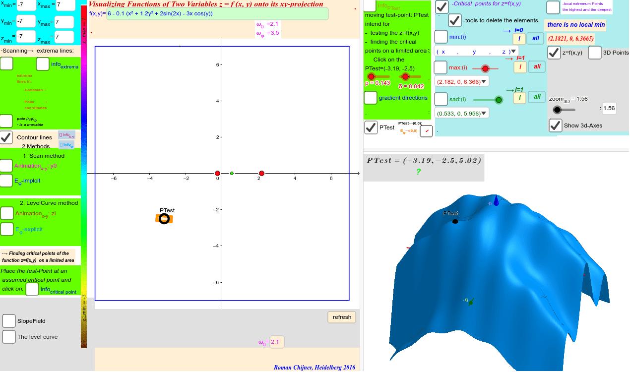 6 - 0.1 (x² + 1.2y² + 2sin(2x) - 3x cos(y)) Press Enter to start activity