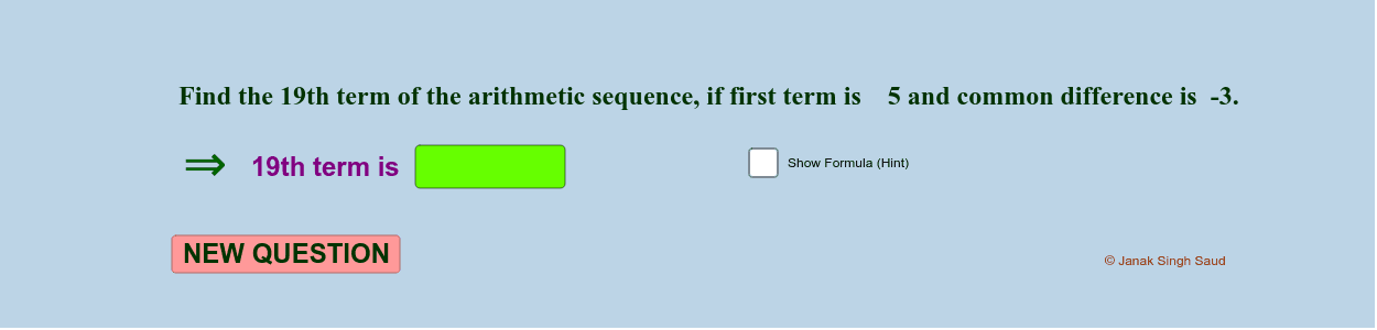 Arithmetic sequence - Test yourself || nth term of A.S formula Practice || Press Enter to start activity