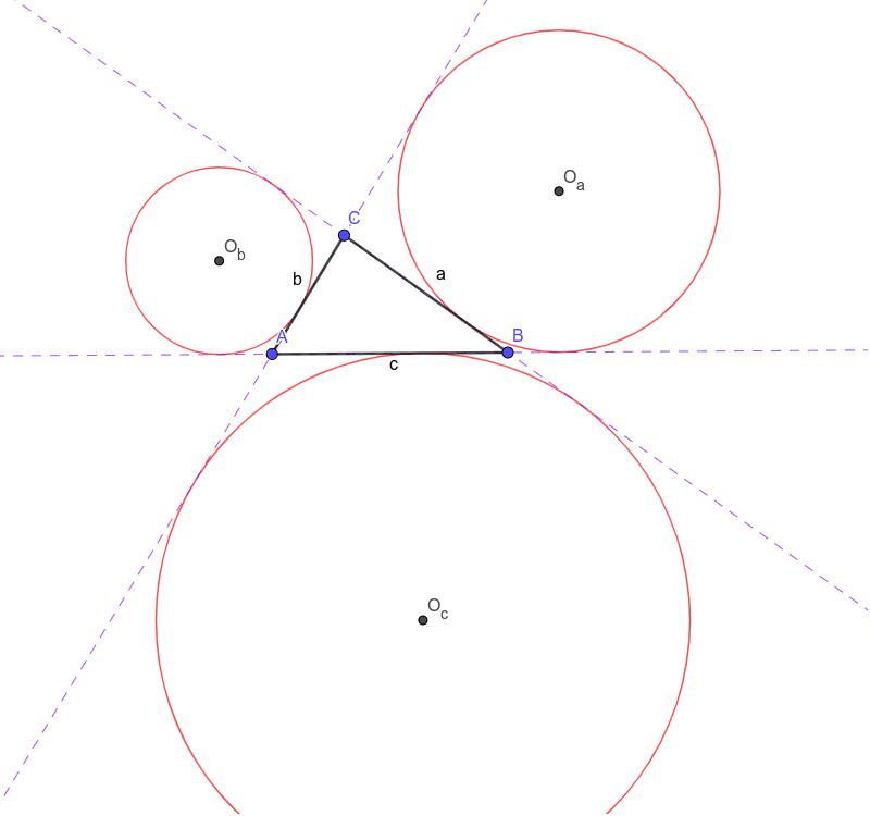 Померајте тачке A, B и C да видите све положаје споља уписаних кружница Press Enter to start activity