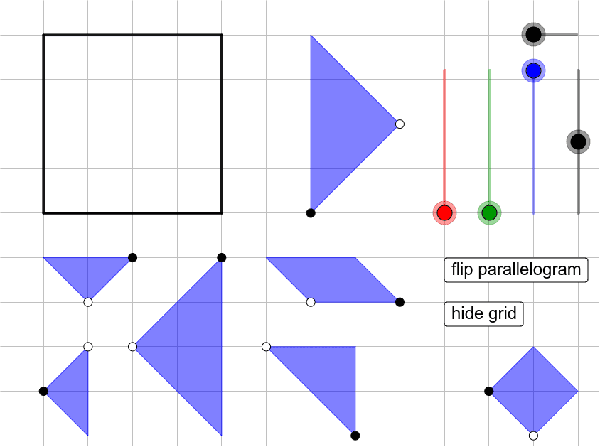 Use all 7 tangrams to fill in the square below.  Press Enter to start activity