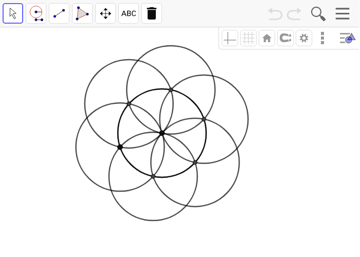 Here is a straightedge and compass construction of a regular hexagon inscribed in a circle just before the last step of drawing the sides. Press Enter to start activity