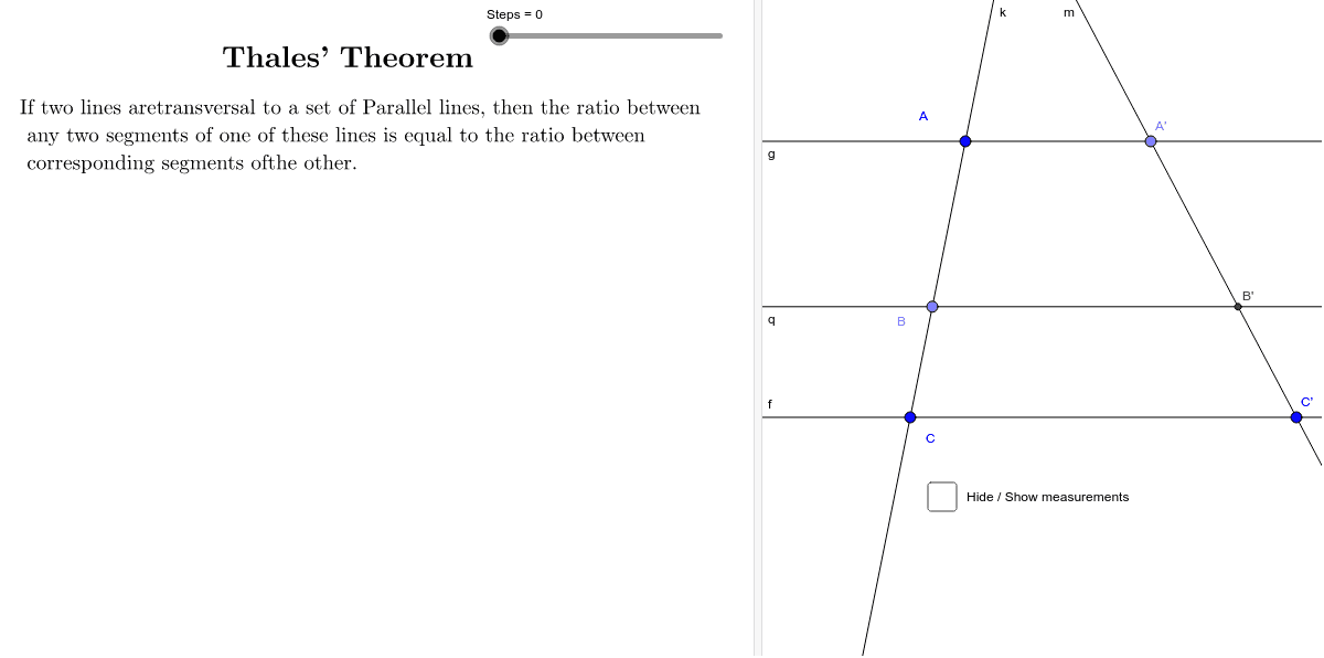 Thales' Theorem Press Enter to start activity