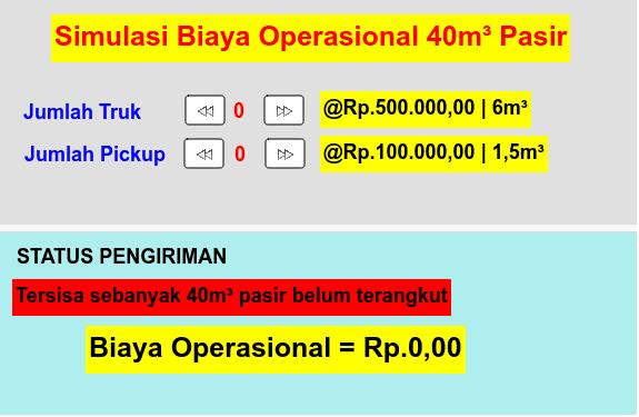 Simulasi Perhitungan Biaya Operasional  Press Enter to start activity